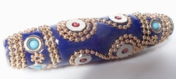 Long Magical Blue & Gold Cloisonne Barrel Bead