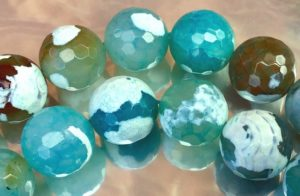 Large Faceted Crab Fire Agate Beads