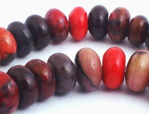 Large Exotic Fire-Red Rhodonite Rondelle Beads