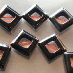 Shiny Devil-Black Hematite Frame Square Beads