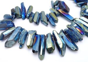 Cobalt Blue Electroplated Crystal Large Icicle Beads